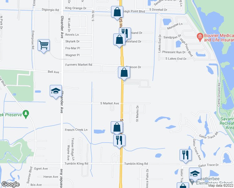 map of restaurants, bars, coffee shops, grocery stores, and more near 3629 U.S. 1 in Fort Pierce