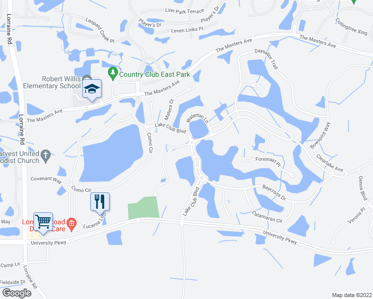 map of restaurants, bars, coffee shops, grocery stores, and more near 15514 Anchorage Place in Lakewood Ranch