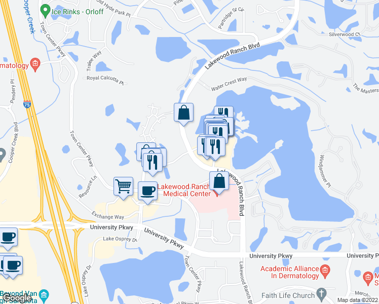 map of restaurants, bars, coffee shops, grocery stores, and more near 8134 Lakewood Ranch Boulevard in Lakewood Ranch