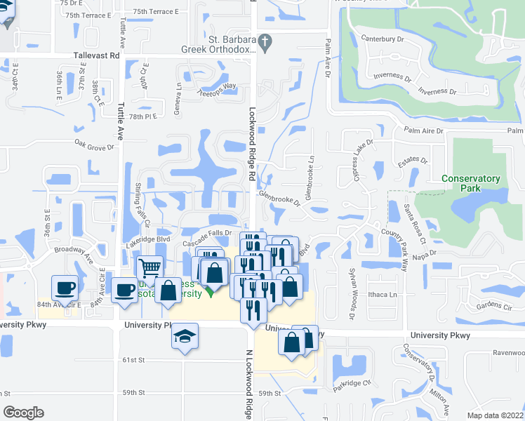 map of restaurants, bars, coffee shops, grocery stores, and more near 8106 45th Court East in Sarasota