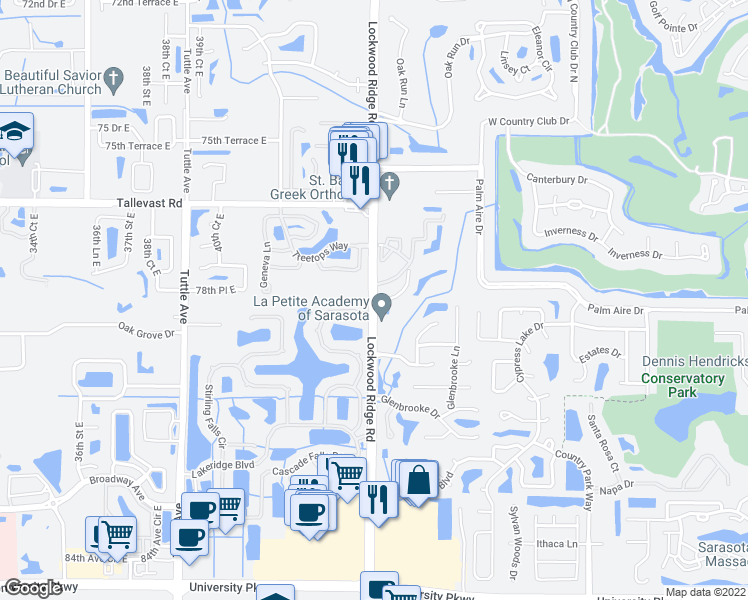 map of restaurants, bars, coffee shops, grocery stores, and more near 7887 North Lockwood Ridge Road in Sarasota