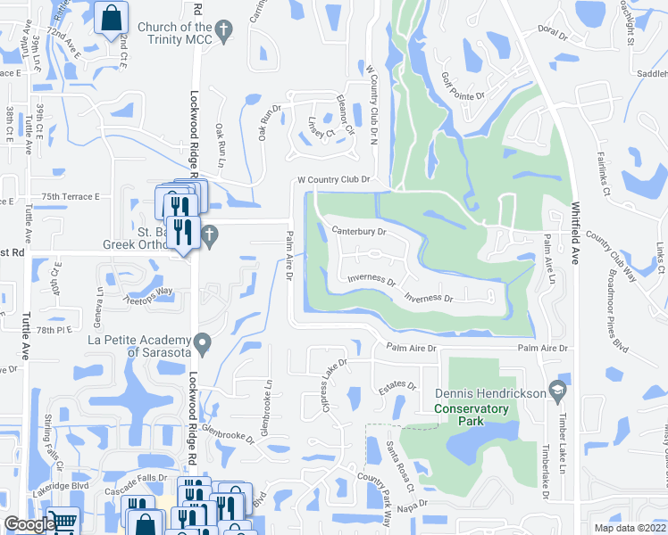 map of restaurants, bars, coffee shops, grocery stores, and more near 5024 Inverness Dr in Sarasota