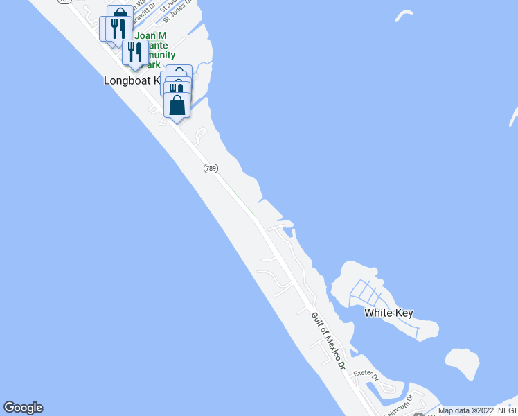 map of restaurants, bars, coffee shops, grocery stores, and more near 5050 Gulf of Mexico Drive in Longboat Key