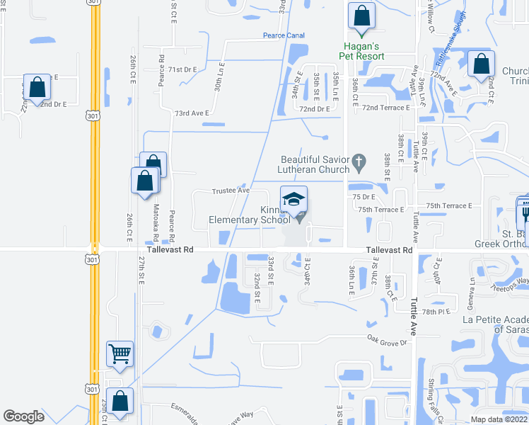 map of restaurants, bars, coffee shops, grocery stores, and more near 7546 Campus Cove in Sarasota