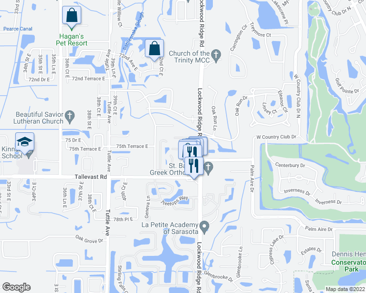 map of restaurants, bars, coffee shops, grocery stores, and more near 4399 Sandner Drive in Sarasota