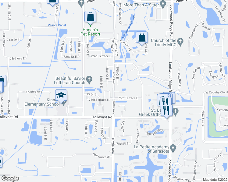 map of restaurants, bars, coffee shops, grocery stores, and more near 3000 Tuttle Avenue in Sarasota