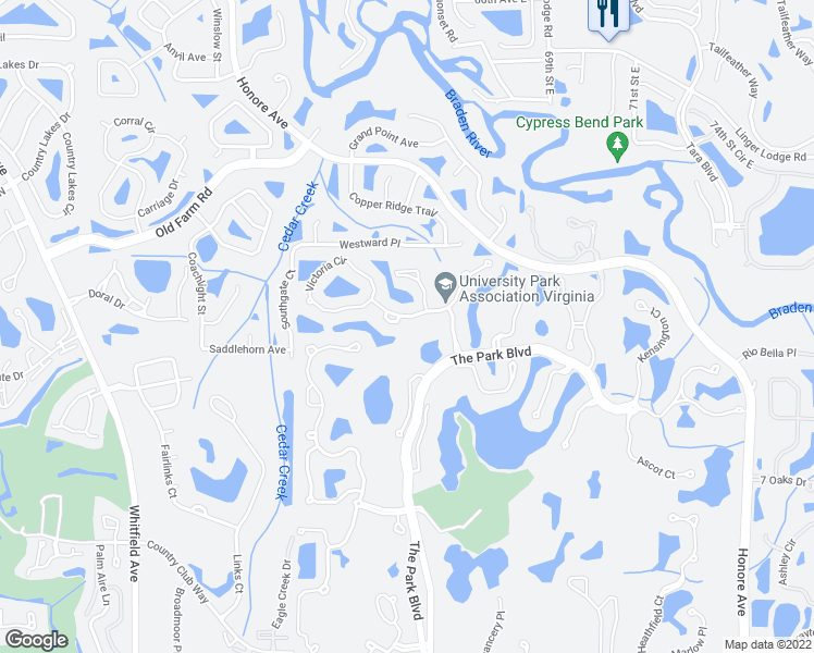 map of restaurants, bars, coffee shops, grocery stores, and more near 6606 Virginia Crossing in Manatee County