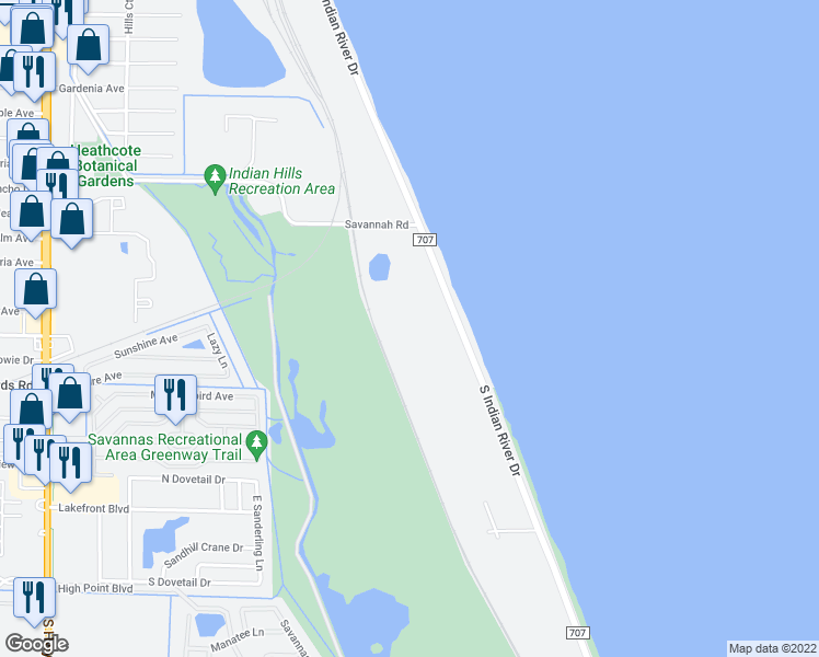 map of restaurants, bars, coffee shops, grocery stores, and more near 2919 South Indian River Drive in Fort Pierce