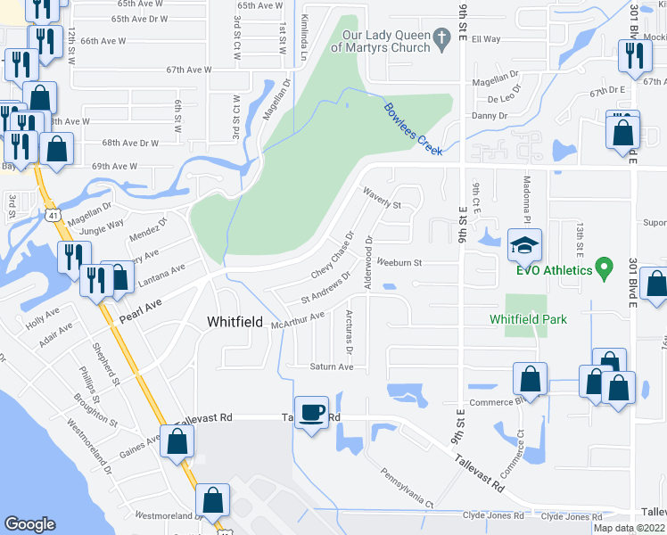 map of restaurants, bars, coffee shops, grocery stores, and more near 534 Chevy Chase Drive in Sarasota
