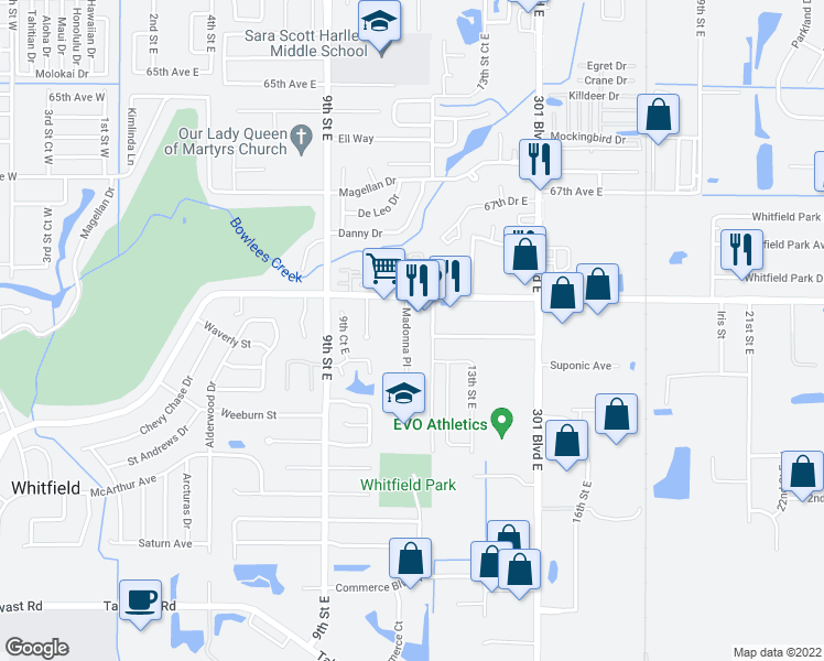 map of restaurants, bars, coffee shops, grocery stores, and more near 6971 Madonna Place in Sarasota