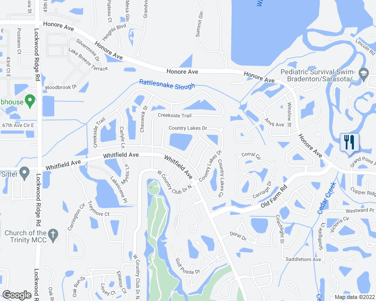 map of restaurants, bars, coffee shops, grocery stores, and more near 5409 Country Lakes Lane in Sarasota