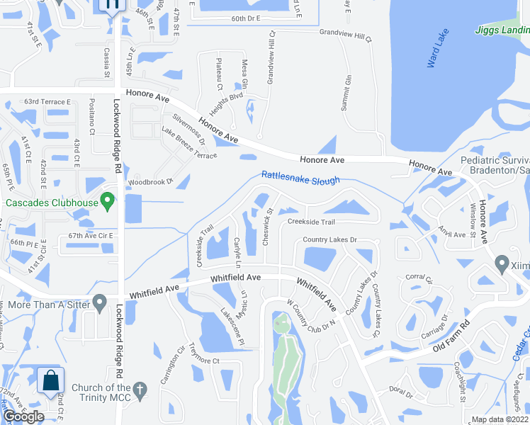 map of restaurants, bars, coffee shops, grocery stores, and more near 6634 Cheswick Street in Sarasota