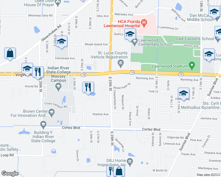 map of restaurants, bars, coffee shops, grocery stores, and more near 2591 South 25th Street in Fort Pierce