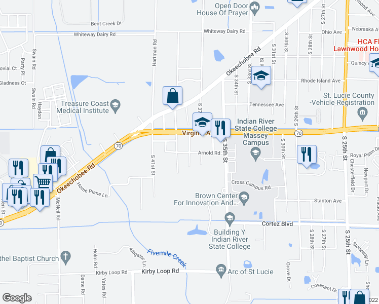 map of restaurants, bars, coffee shops, grocery stores, and more near 3552 Arnold Road in Fort Pierce