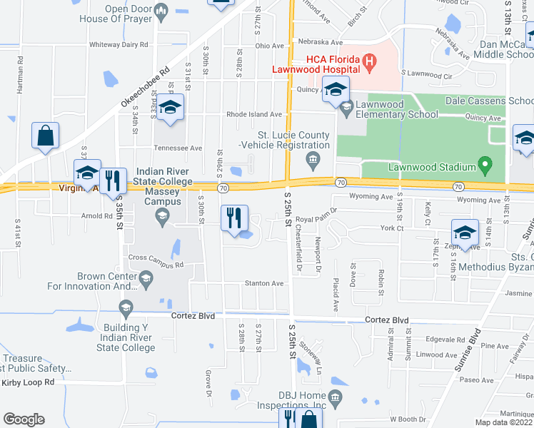 map of restaurants, bars, coffee shops, grocery stores, and more near 2601 Virginia Avenue in Fort Pierce
