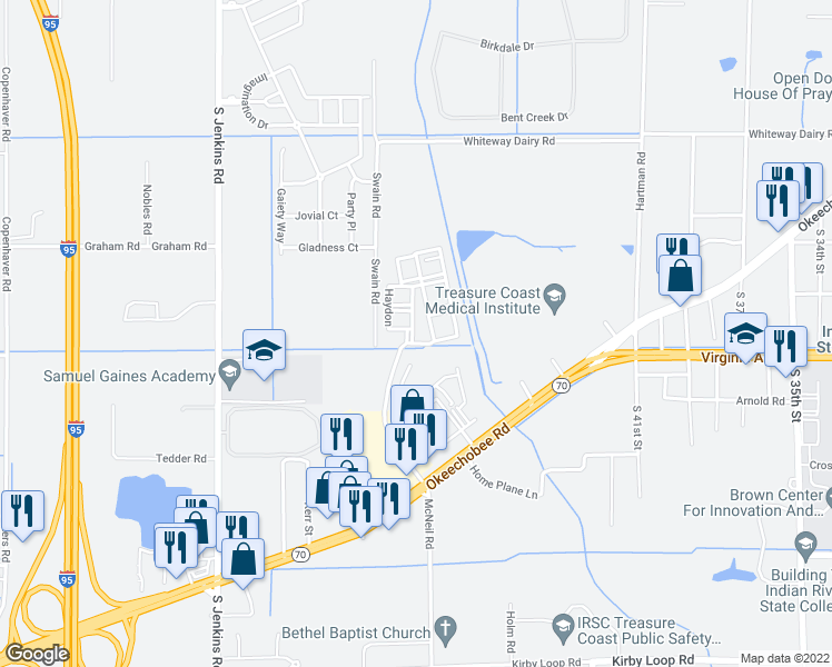 map of restaurants, bars, coffee shops, grocery stores, and more near 100 Corner Drive in Fort Pierce