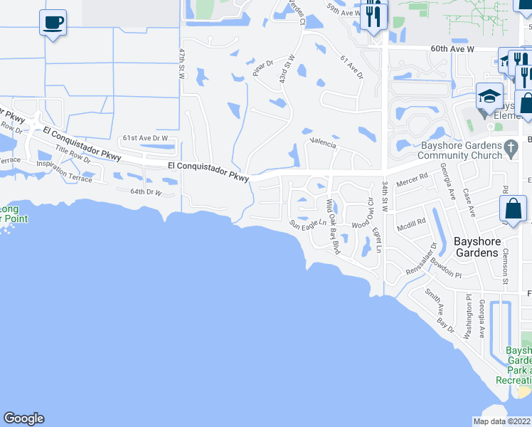 map of restaurants, bars, coffee shops, grocery stores, and more near 3903 Bayside Drive in Bradenton