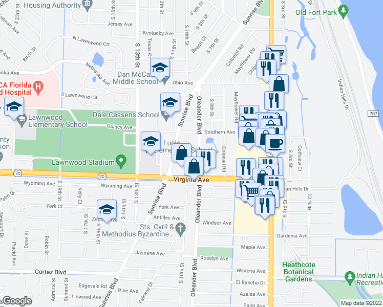 map of restaurants, bars, coffee shops, grocery stores, and more near 2014 South 10th Street in Fort Pierce