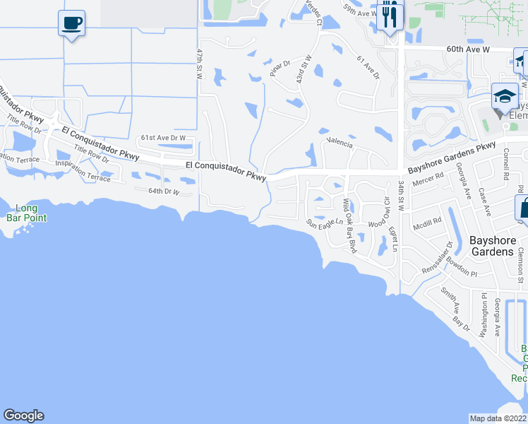map of restaurants, bars, coffee shops, grocery stores, and more near 4007 Bayside Drive in Bradenton