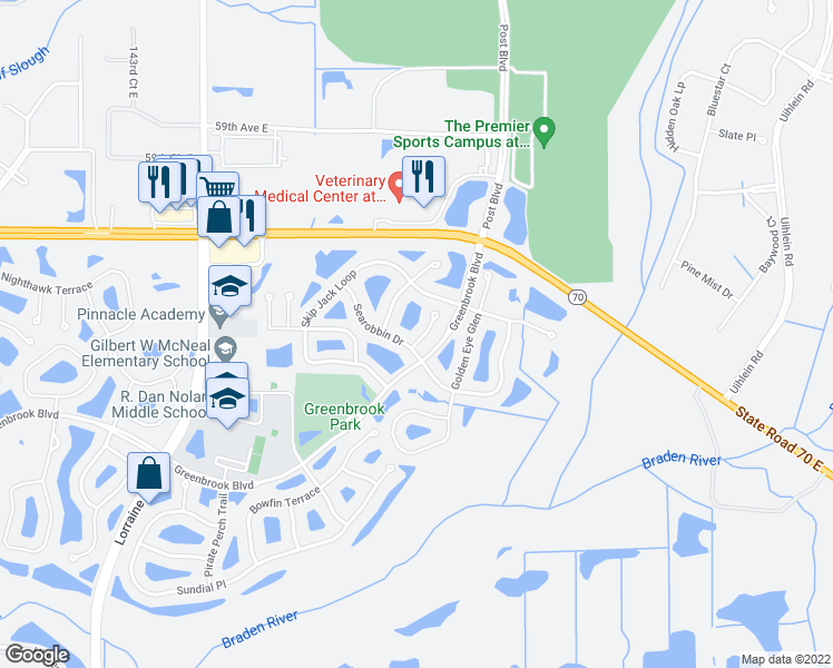 map of restaurants, bars, coffee shops, grocery stores, and more near 6226 Blackdrum Court in Lakewood Ranch