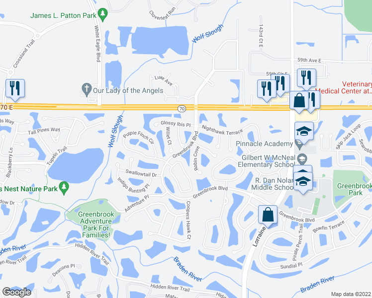 map of restaurants, bars, coffee shops, grocery stores, and more near 5396 Greenbrook Boulevard in Bradenton