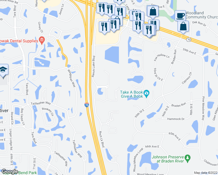 map of restaurants, bars, coffee shops, grocery stores, and more near 8110 Misty Wood Avenue in Bradenton