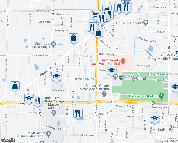 map of restaurants, bars, coffee shops, grocery stores, and more near 1807 South 26th Street in Fort Pierce