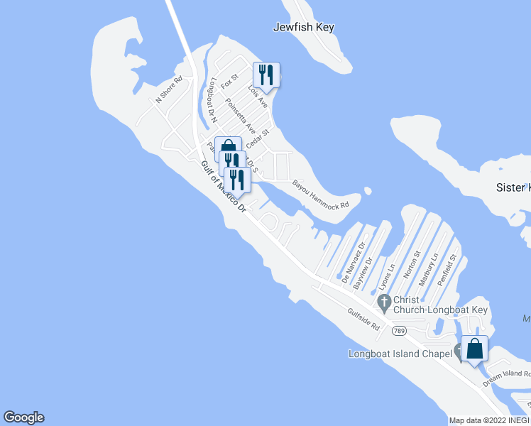 map of restaurants, bars, coffee shops, grocery stores, and more near 6700 Gulf of Mexico Drive in Longboat Key