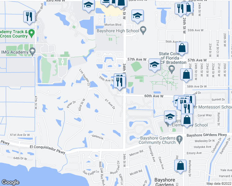 map of restaurants, bars, coffee shops, grocery stores, and more near 5970 35th Street West in Bradenton