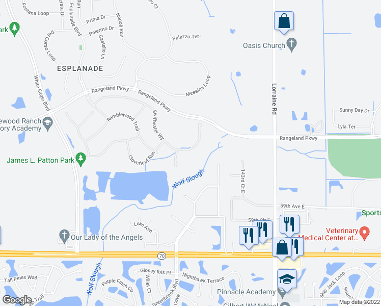 map of restaurants, bars, coffee shops, grocery stores, and more near 13726 Swiftwater Way in Bradenton