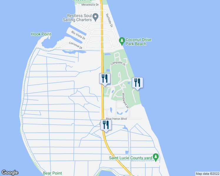 map of restaurants, bars, coffee shops, grocery stores, and more near 307 South Compass Drive in Fort Pierce