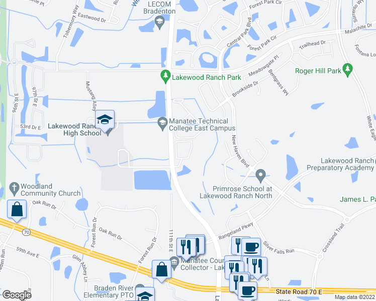 map of restaurants, bars, coffee shops, grocery stores, and more near 11209 Ranch Creek Terrace in Bradenton