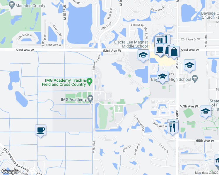 map of restaurants, bars, coffee shops, grocery stores, and more near 5580 46th Court West in Bradenton