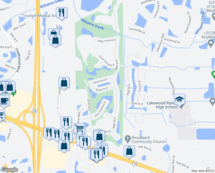 map of restaurants, bars, coffee shops, grocery stores, and more near 8741 52nd Drive East in Bradenton