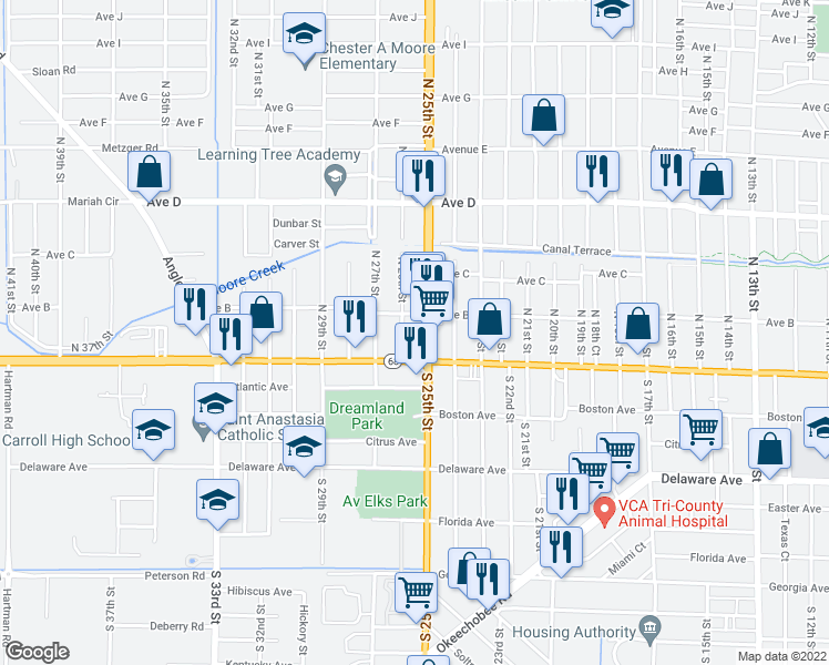 map of restaurants, bars, coffee shops, grocery stores, and more near 2520 Orange Avenue in Fort Pierce