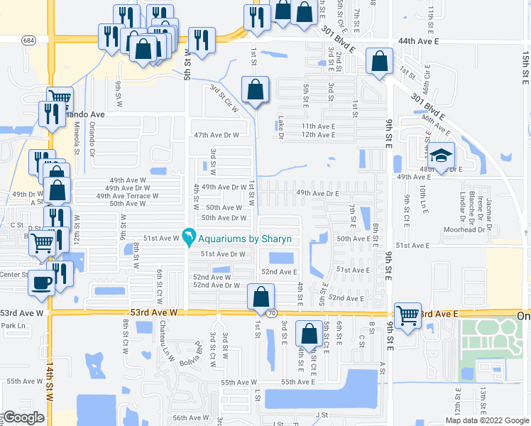 map of restaurants, bars, coffee shops, grocery stores, and more near 105 50th Avenue Drive East in Bradenton