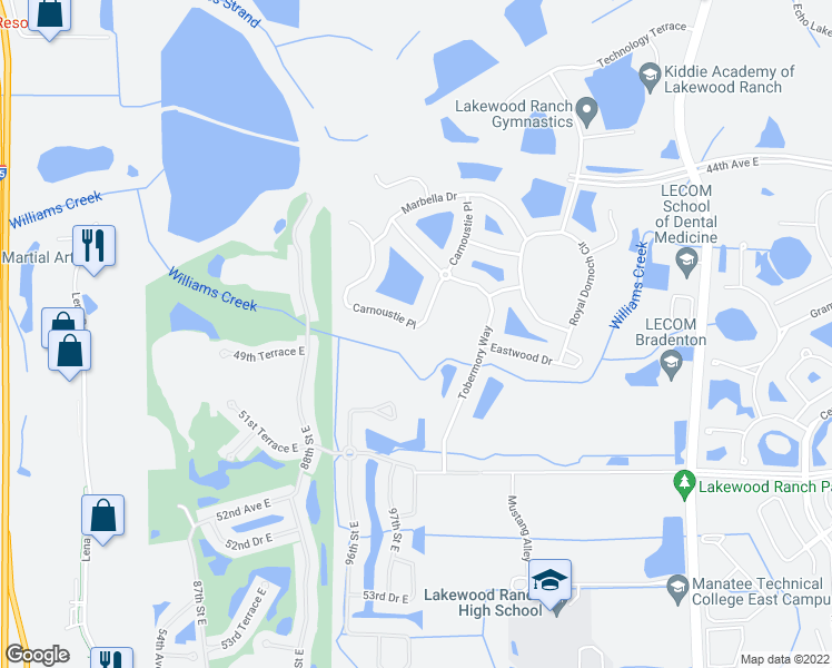map of restaurants, bars, coffee shops, grocery stores, and more near 9834 Carnoustie Place in Bradenton