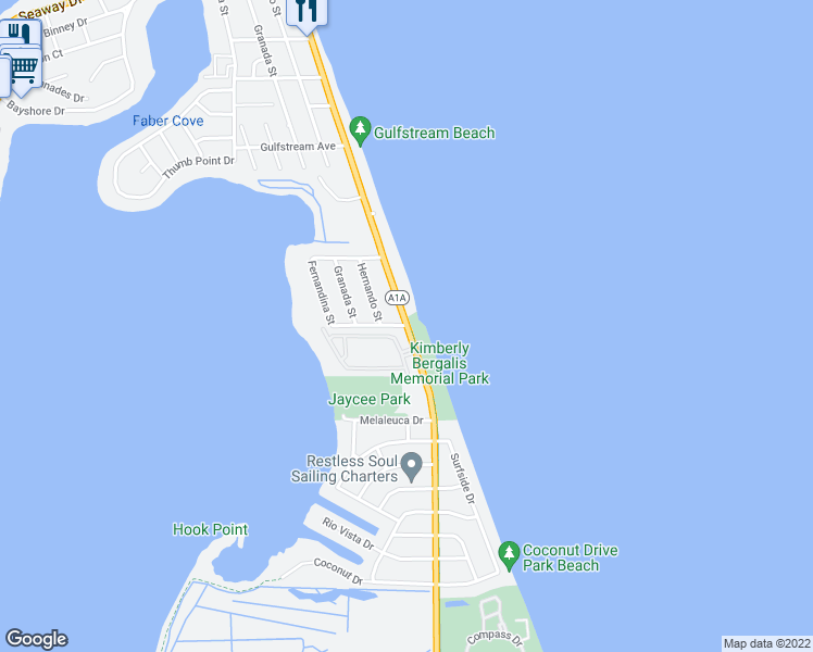 map of restaurants, bars, coffee shops, grocery stores, and more near 1200 South Ocean Drive in Fort Pierce