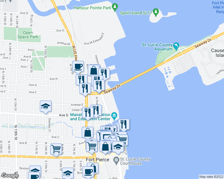 map of restaurants, bars, coffee shops, grocery stores, and more near 1 Highway A1A in Fort Pierce