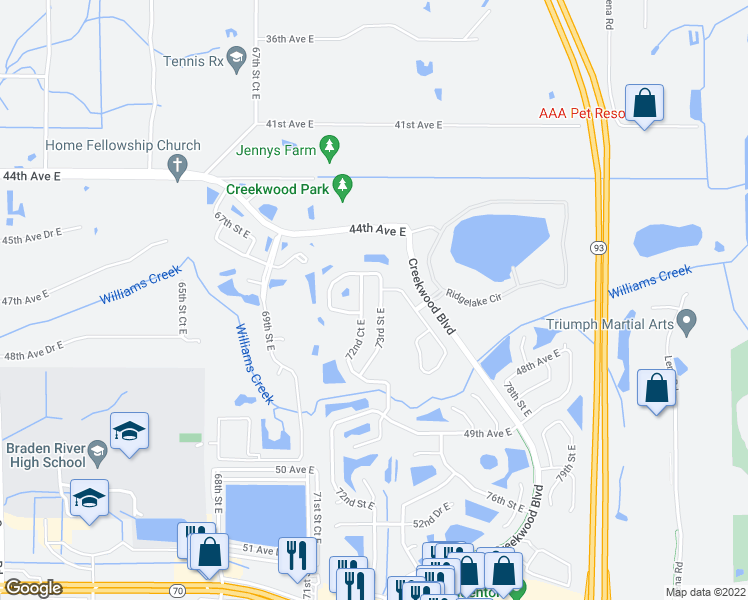 map of restaurants, bars, coffee shops, grocery stores, and more near 4620 73rd Street East in Bradenton