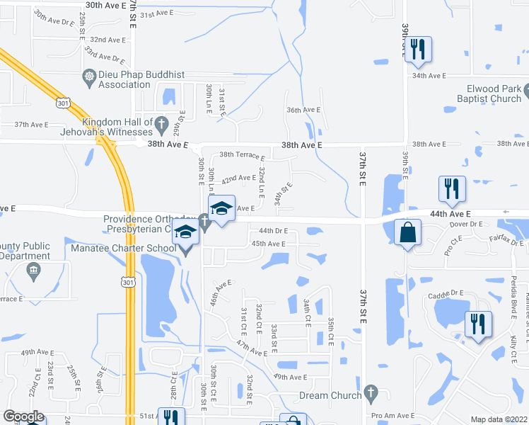 map of restaurants, bars, coffee shops, grocery stores, and more near 3216 43rd Avenue East in Bradenton