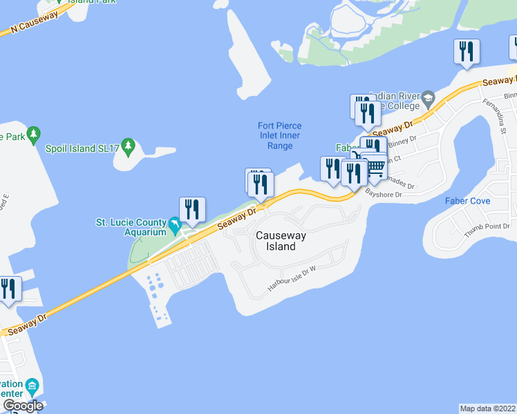 map of restaurants, bars, coffee shops, grocery stores, and more near Seaway Drive in Fort Pierce
