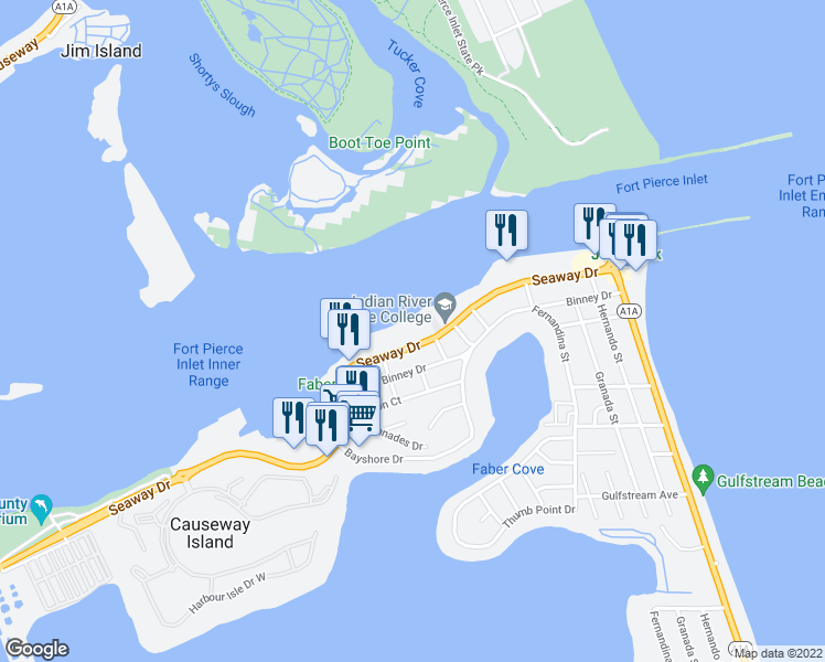 map of restaurants, bars, coffee shops, grocery stores, and more near 1300 Seaway Drive in Fort Pierce