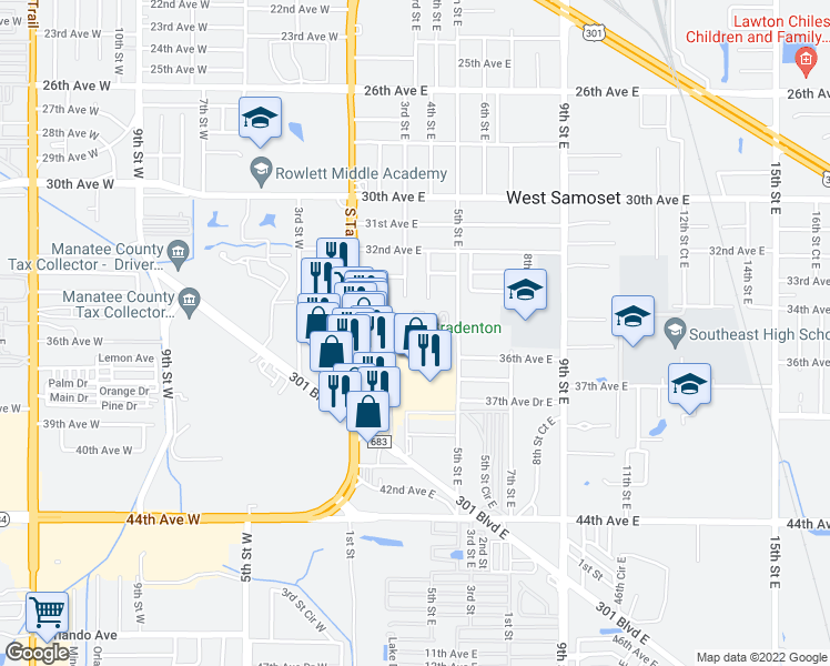 map of restaurants, bars, coffee shops, grocery stores, and more near 350 34th Avenue Drive East in Bradenton