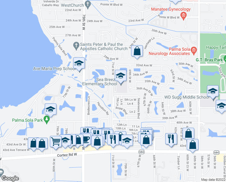 map of restaurants, bars, coffee shops, grocery stores, and more near 200-222 Ln 7 in Bradenton