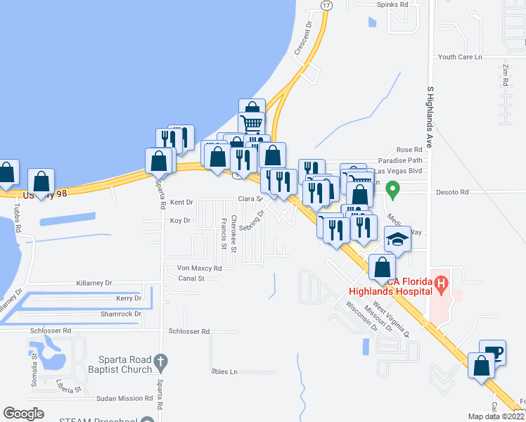 map of restaurants, bars, coffee shops, grocery stores, and more near Sunrise Boulevard in Sebring