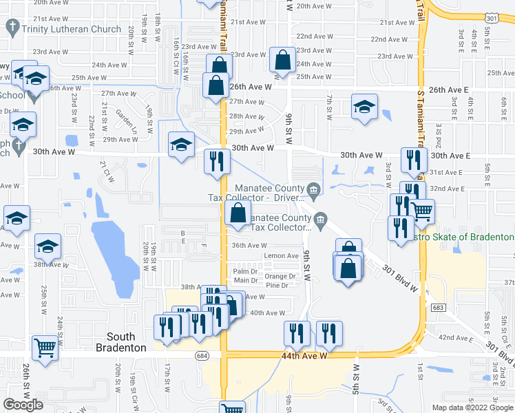 map of restaurants, bars, coffee shops, grocery stores, and more near 911 34th Avenue West in Bradenton