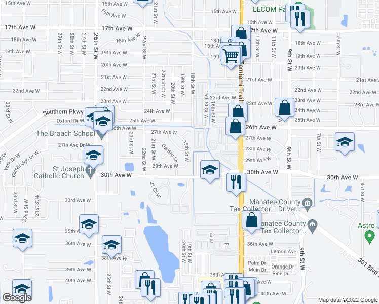 map of restaurants, bars, coffee shops, grocery stores, and more near 2809 19th Street West in Bradenton