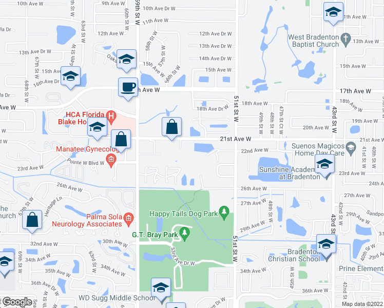 map of restaurants, bars, coffee shops, grocery stores, and more near 2207 55th Street West in Bradenton