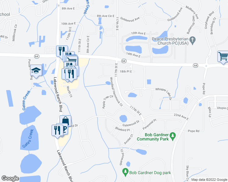 map of restaurants, bars, coffee shops, grocery stores, and more near Woodleaf Hammock Court in Manatee County